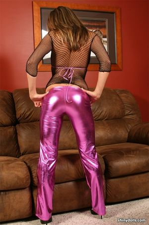 sexy teen girl in shiny catsuit