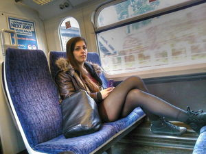 sexy girl in train