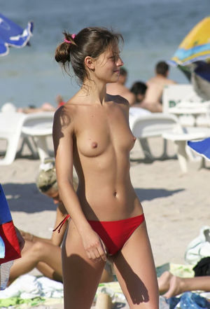 beach girl topless young