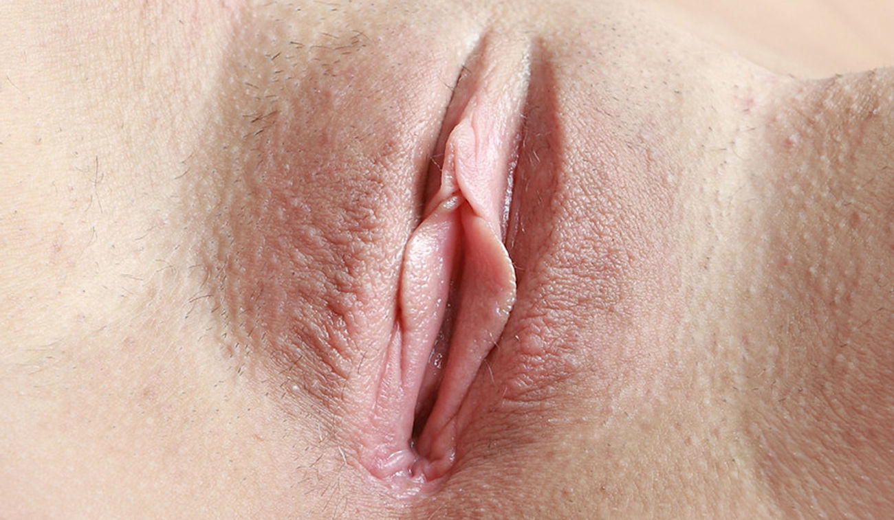 Spread pussy slit close up
